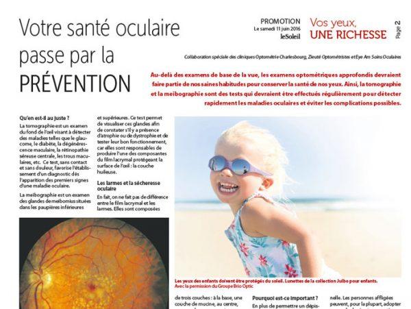 Article Optométrie Charlesbourg