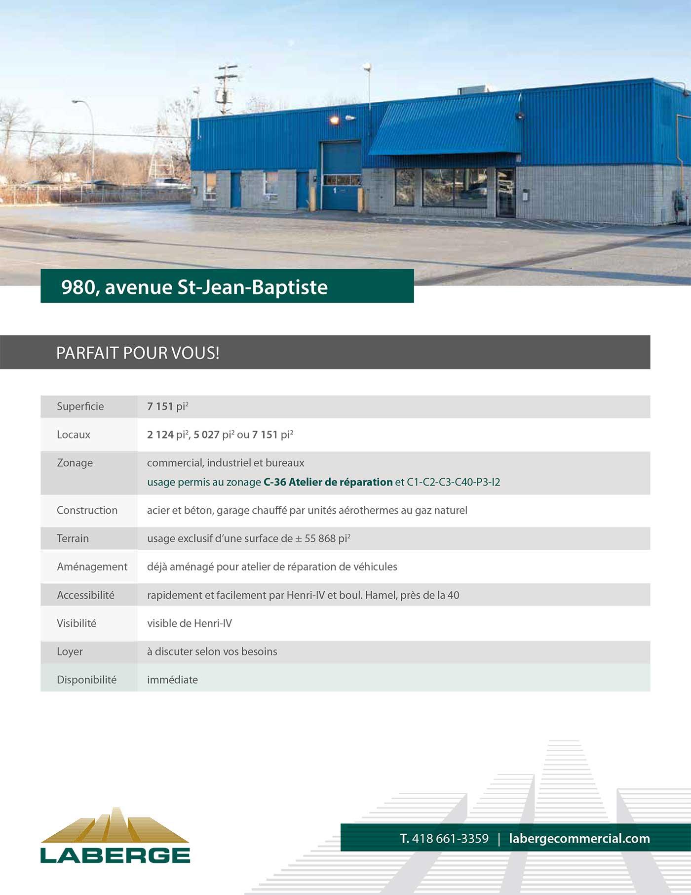 Document de présentation d'un local à louer pour Laberge Commercial