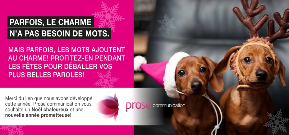 Carte de Noël Prose communication