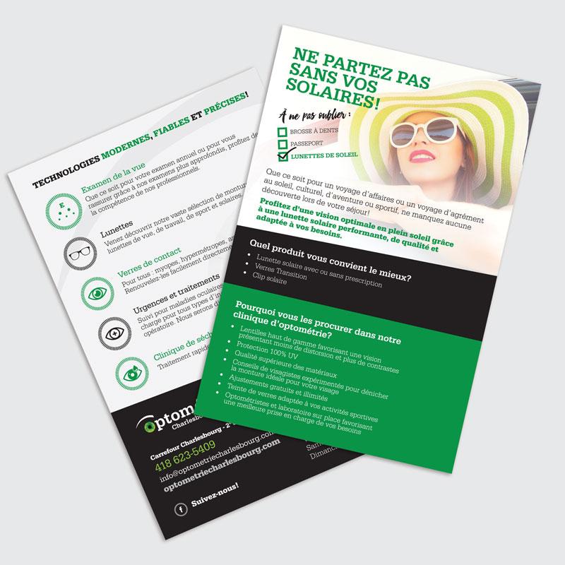 Flyer Optométrie Charlesbourg pour le Salon voyage