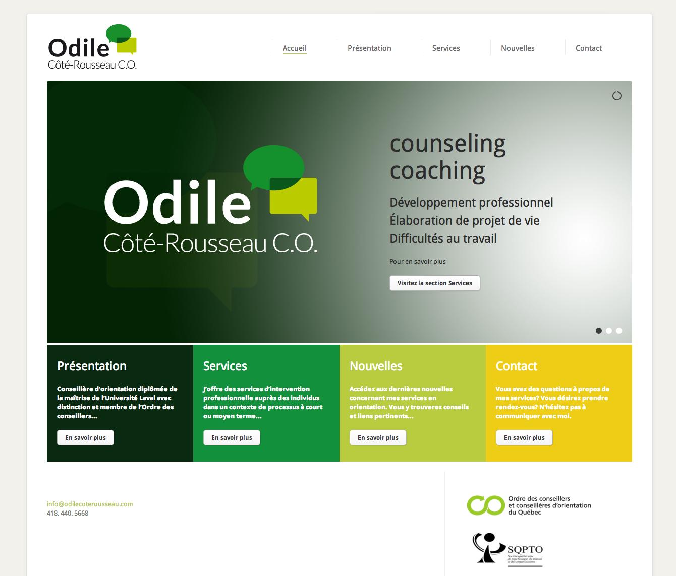 Site Web Odile Côté Rousseau